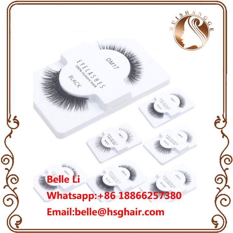 Black 1 Pair False Eyelashes 100% Human Hair Strip Lash Fake Eye Lashes