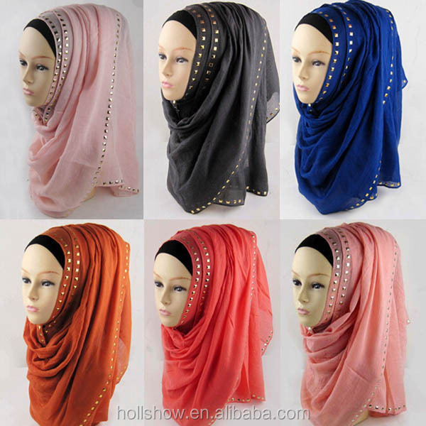 Wholesale Fashion Cotton Polyester Beaded Rhinestone Women Muslim Hijab Scarf