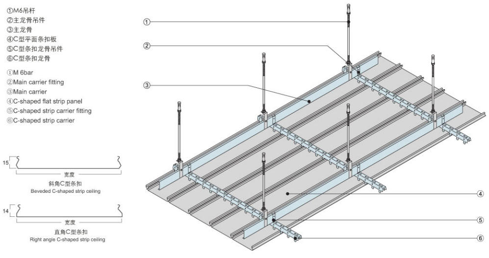 Fireproof C shaped closed linear metal suspended ceiling strips