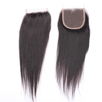 Wholesale 4x4inch Brazilian Virgin Hair Closure Straight Natural Free Parting Lace Closures
