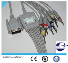 Factory supply Nihon Kohden one-piece series patient monitor EKG cable with 10 leads, defibrillate, din, DB 15pin
