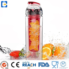 600ml clear plastic drinking water bottle with fruit bottle infuser for ourdoor running, camping