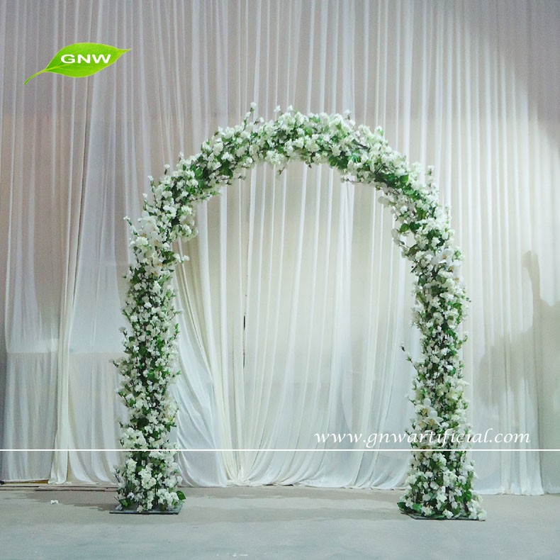Gnw 8ft white metal wedding arch with cherry blossom flowers for gnw 8ft white metal wedding arch with cherry blossom flowers for sale as wedding backdrop decoration junglespirit Image collections