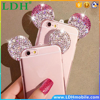 Newest fashion 3D Mickey mouse Case For iPhone 6 6S 4.7 inch Rhinestone ears Soft Transparent TPU Protect phone covers
