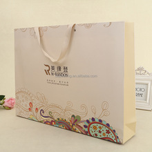 OEM white paper gift bags with ribbon handles
