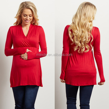 Maternity Nursing Wrap Top Wholesale Best Price Jersey Red Plain Blank Fashion Long Sleeve Blouses Pregnant Women Clothing