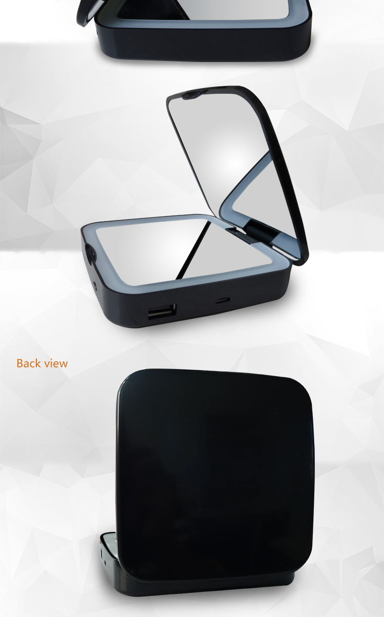 Portable led lighting adjustable usb cosmetic led mirror with power bank