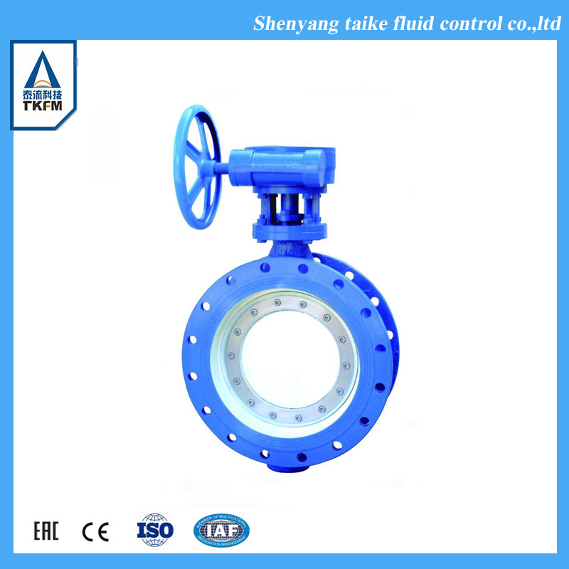 Chinese supplier flange connection viton seat bs en593 sewage butterfly valve gearbox
