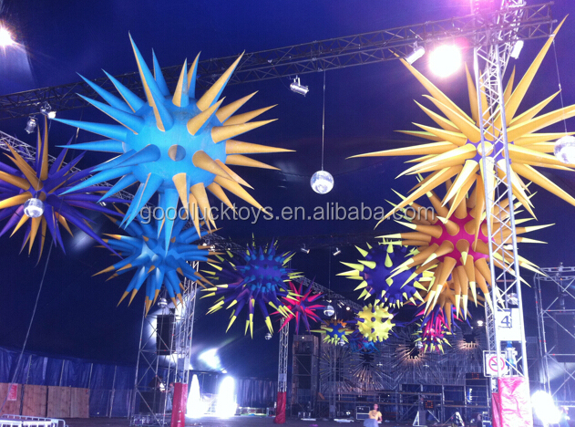 Inflatable hanging spiky ball for music party