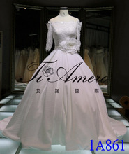 1A861 Romantic 3/4 Sleeve Back Lace Off Shoulder Appliqued Sash Long Trailed Ball Gown/Wedding Gown