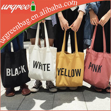 Custom printed black white yellow pink standard size canvas wholesale tote bag