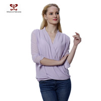 New Fashion Chiffon Blouse 2016 Sexy Droop V Neck Front Cross Models Chiffon Blouses Pure Color Chiffon Style Blouse