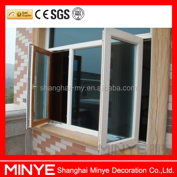 double open casement window aluminum profile swing open window with fixed window double glass