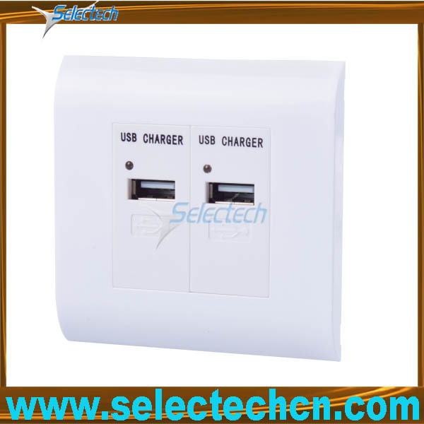 Factory price USB charger socket for ipad with metal bracket sockets 8081044+2usb-10B