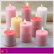 multi colour flat top pillar candle with print for home decoration