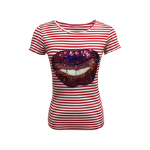 Fashion Collection Women Viscose Spandex Fancy Short Sleeve Red and White Stripe T-Shirt with Sequins Embroidered Face Print