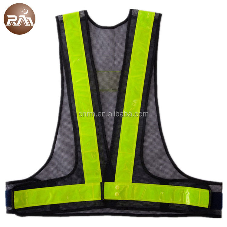 100% Polyester Mesh Fabric Fluorescent Color PVC Police Safety Vests