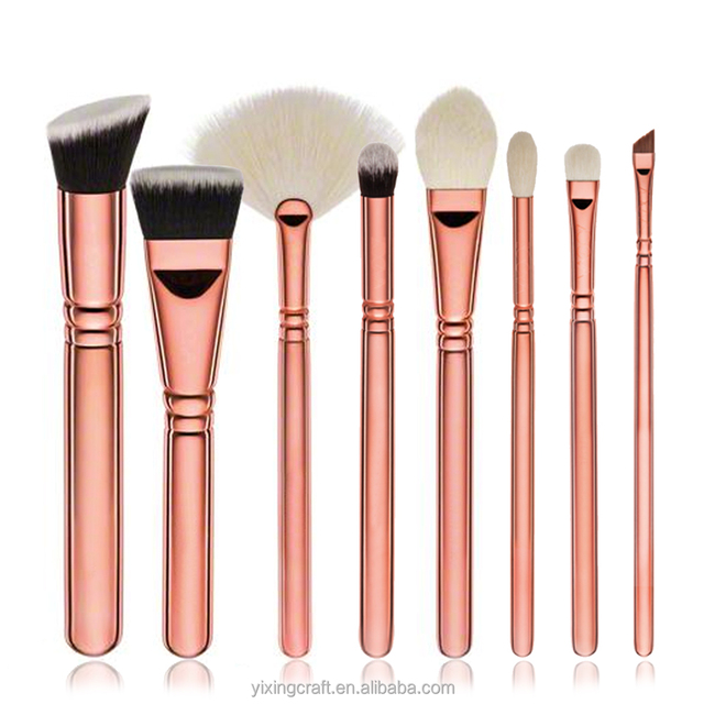 8 Pcs Professional Makeup Brushes Set Powder Foundation Contour Blending Eyeshadow Blush Synthetic Kabuki Brush Kit ( Rose Gold)