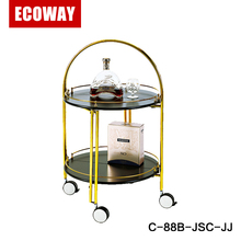 Stainless Steel Mini Bar Trolley Metal Tea Drink Cart for hotel