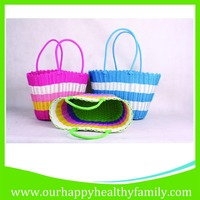 Hand Knitted PP Plastic Straw Woven Beach Tote Bags