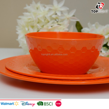 Orange Solid Color Melamine Ceramic 3pcs Dinner Set