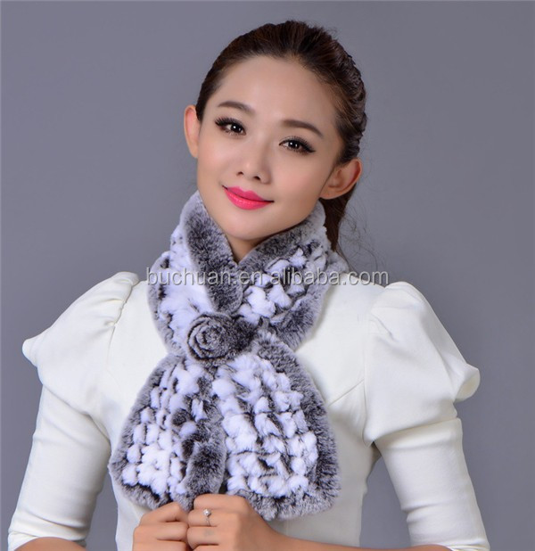 Women Knitting Rabbit Fur Scarf