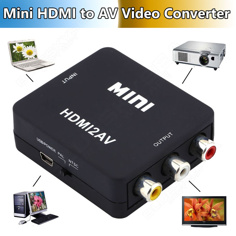 HD Video Converter Box to RCA AV/CVBS L/<strong>R</strong> <strong>1080P</strong> HDMI2AV Adapter NTSC PAL TV Black