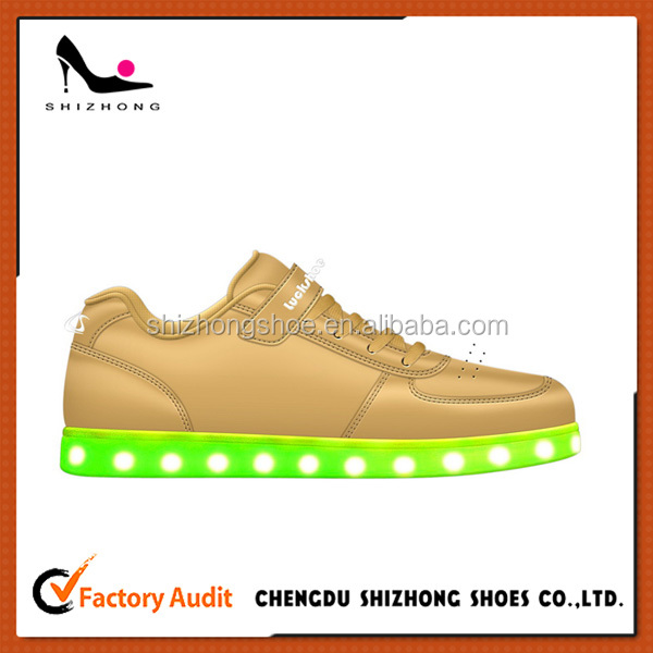2016 New design Kids LED Sneakers Soft sole Candy color LED Children shoes