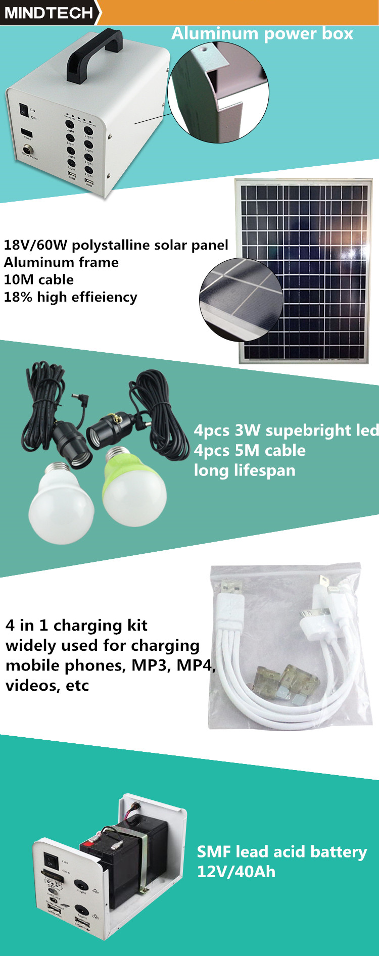 shenzhen mindtech 60W solar power generator system home with 6 pcs led lanterns for fan phone charger and toplap