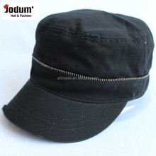 Wholesale Flat Top Military Style Hat Worn-out With zipper Army Cap