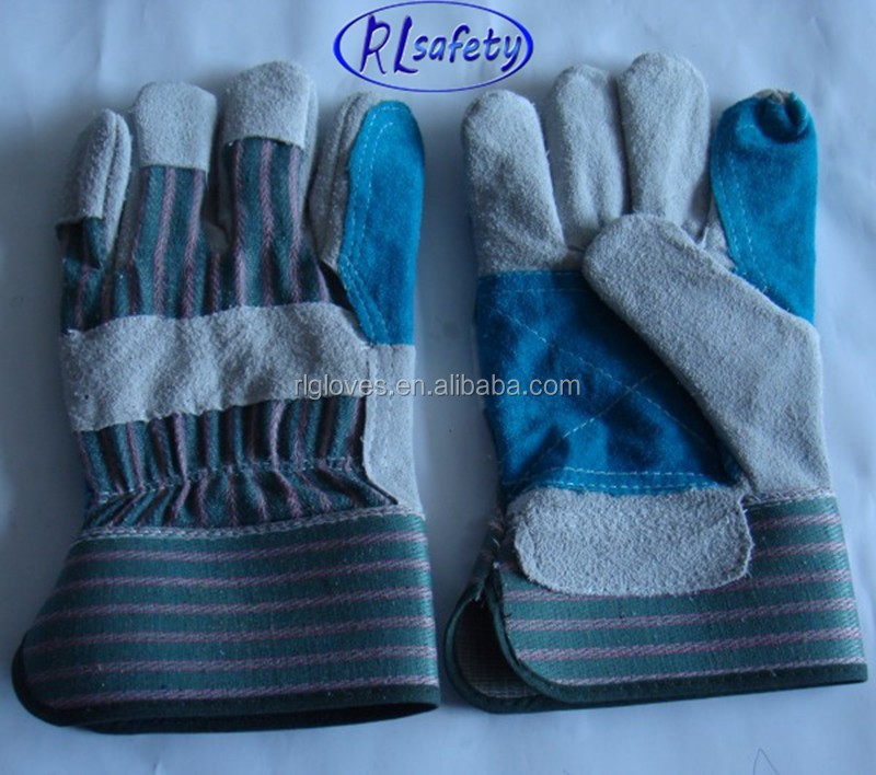 Welding gauntlet gloves Grey cow split leather 2012