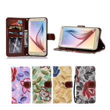 Recently Hot Selling Vintage Flower PU Leather Wallet Stand Case for Samsung S7 Edge with Lanyard