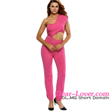 Dear-lover Bright Pink One-shoulder women fashion Jumpsuit