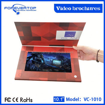 Factory lowest price 10 inch lcd video brochure promotional gift card