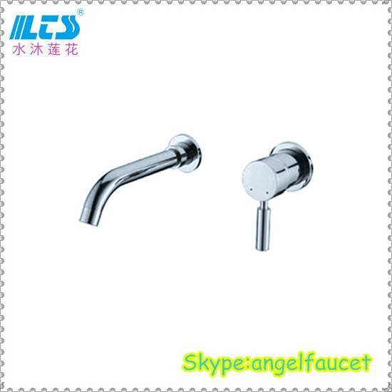 Single lever wall mounted wash basin faucet