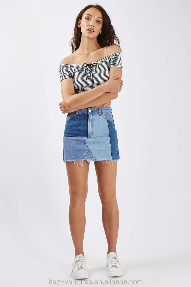 ladies denim mini skirts OEM custom top design jean skirts
