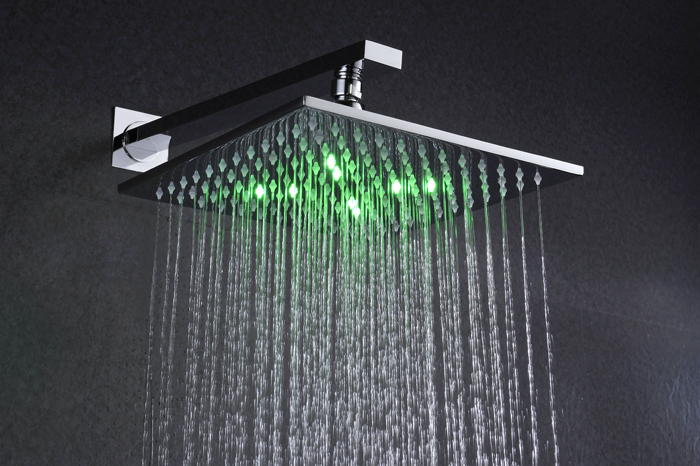10 inch brass chrome led shower head system