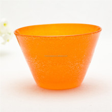 Bubble Design Orange Colored Clear Glass Bowl For Home Dector