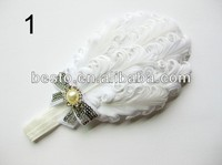 Baby hot sale amour wholesale cheap white sequin peacock feather headband