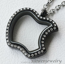 apple shape black plated stainless steel floating locket charms