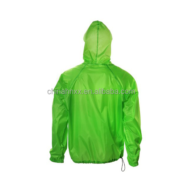 Waterproof green plastic rain coat jacket