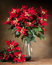 Christmas poinsettia ornaments artificial flower