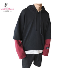 Mens fashion Fake Two Pieces Oversized Pullover Hoodies