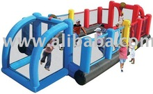 A real inflatable football field with two goals, two basket balls and two entrances. All arround safety nets.