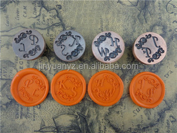 JinYuan Custom Logo 2.5cm Vintage Sealing Wax Seal Stamp/brass stamp set