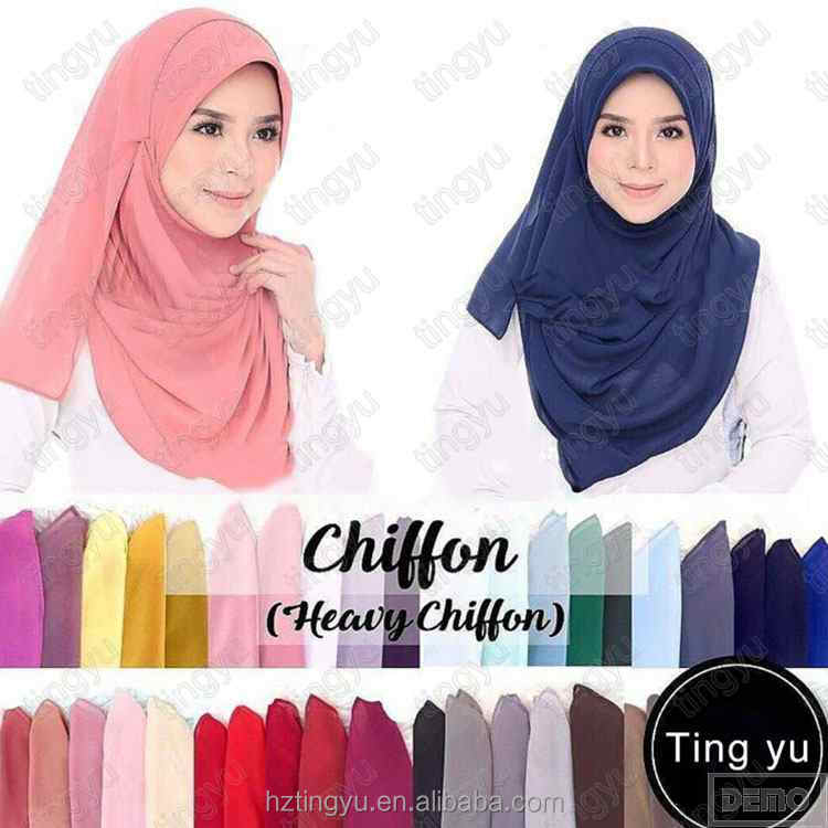Factory directly selling fashion 72 colors big size women wear basic thick scarf shawl fashion print bubble chiffon Hijab
