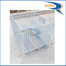 stackable warehouse steel wire mesh rolling storage cages/container