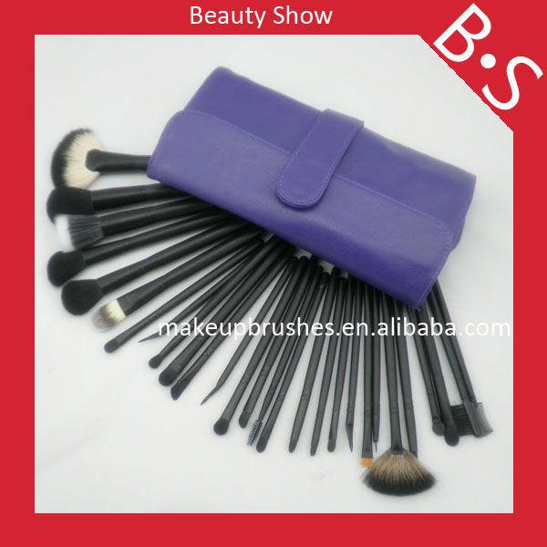 28pcs nylon and goat hair professional makeup brush set,sedona personalized cosmetic brush set,black and purple brush set