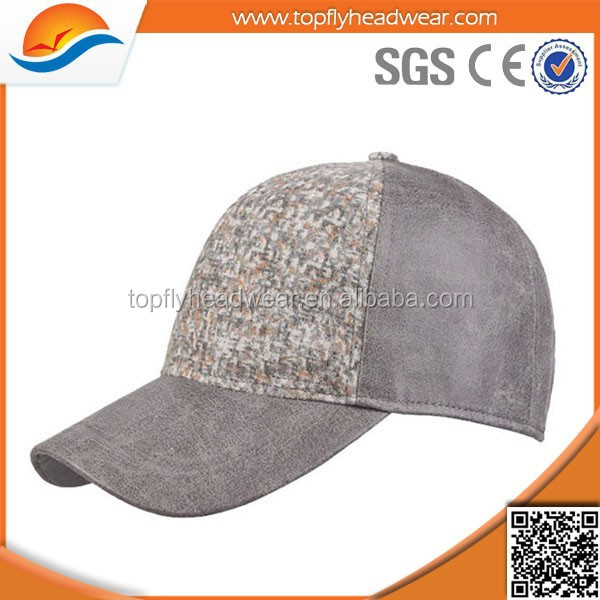 high quality printing leather baseball cap with leather strap