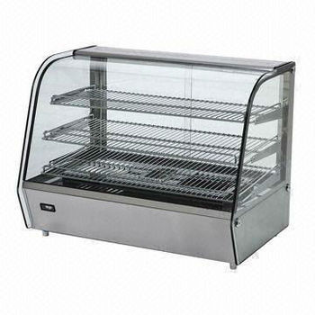 120L Stainless Steel Counter Top Display Warmer with curved glass door, +30 to +90'C